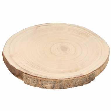 1x ronde houten schijf kaars onderborden/kaarsenborden 29 x 3 cm