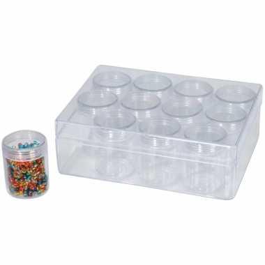 1x sorteerdoos/boxen/organizers transparant 16 cm met 12 opbergpotjes