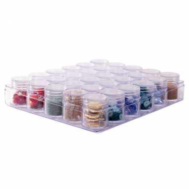 1x sorteerdoos/boxen/organizers transparant 16 cm met 30 opbergpotjes