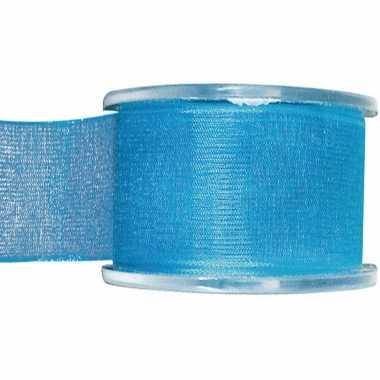 1x turquoise organzalint rollen 4 cm x 20 meter cadeaulint verpakkingsmateriaal