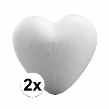 2 stuks knutsel harten van piepschuim 15 cm