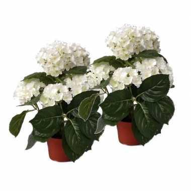 2 stuks kunstplanten hortensias wit 36 cm