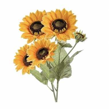 2 stuks nep/namaak zonnebloemen kunstbloemen 62 cm 3 knoppen