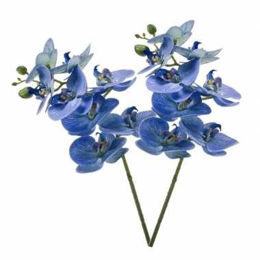 2 stuks nep planten blauwe phaleanopsis vlinderorchidee kunstbloemen
