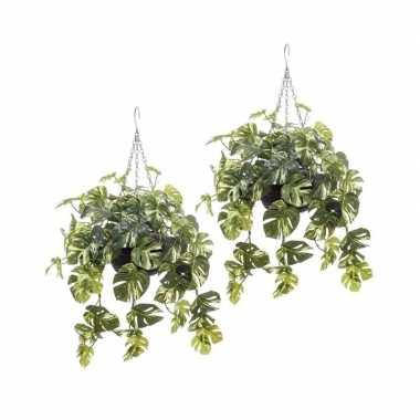 2 stuks nep planten groen met gele monstera gatenplant kunstplanten 5