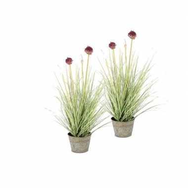 2 stuks nep planten groene allium sierui grasplant kunstplanten 53 cm
