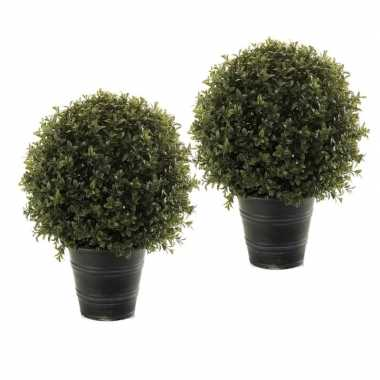 2 stuks nep planten groene buxus bol struik kunstplanten 42 cm met zw