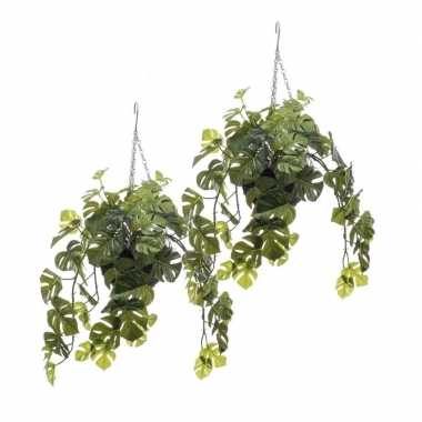2 stuks nep planten groene monstera gatenplant kunstplanten 50 cm met