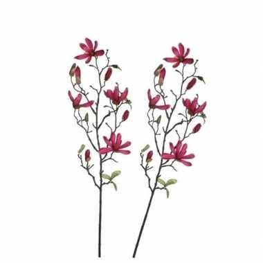 2 stuks nep planten magnolia beverboom kunstbloemen takken 175 cm dec