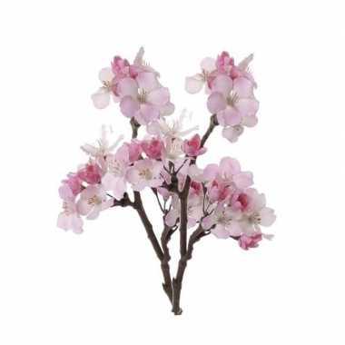 2 stuks roze nep appelbloesem kunstbloemen takken 36 cm