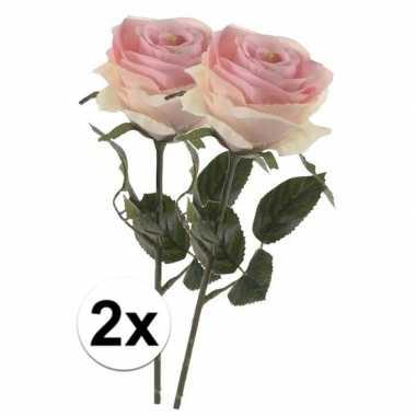 2 x kunstbloemen steelbloem licht roze roos simone 45 cm