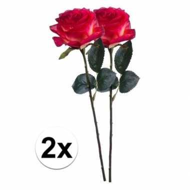 2 x kunstbloemen steelbloem rood gele roos simone 45 cm