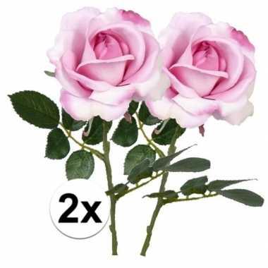 2 x kunstbloemen steelbloem roze roos carol 37 cm