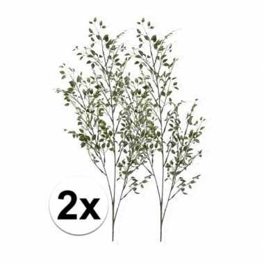 2 x kunsttakken groene buxus tak 75 cm