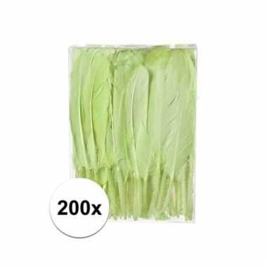 200x groen decoratie veren 13 cm