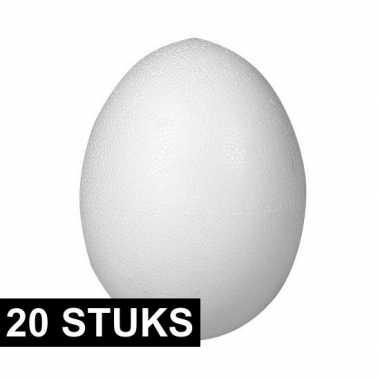 20x stuks eieren van piepschuim 8 cm