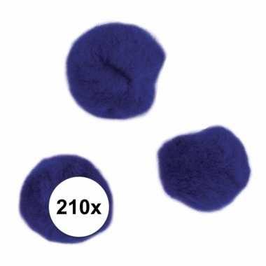 210x hobby pompons 7 mm donkerblauw