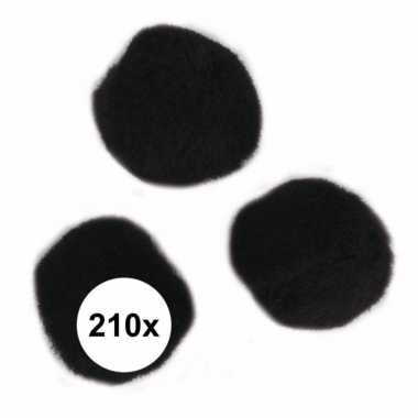 210x hobby pompons 7 mm zwart