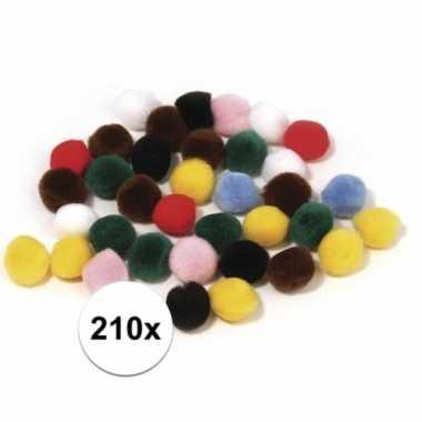 210x hobby pompons 7mm kleurenassortiment