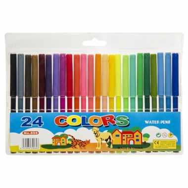 24x gekleurde viltstiften in mapje