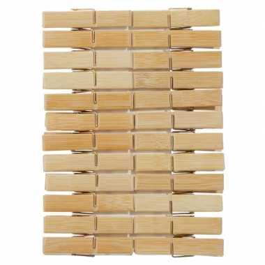 24x houten wasgoedknijpers 6 cm