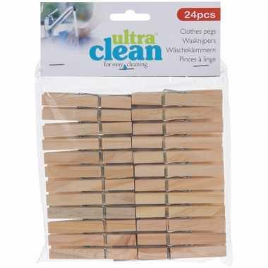 24x houten wasgoedknijpers 7 cm