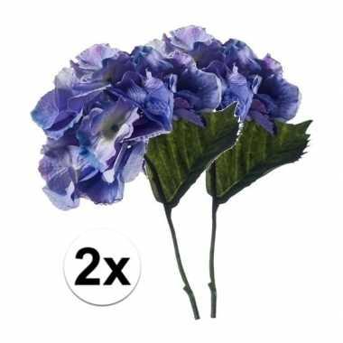 2x blauwe hortensia kunstbloem 28 cm