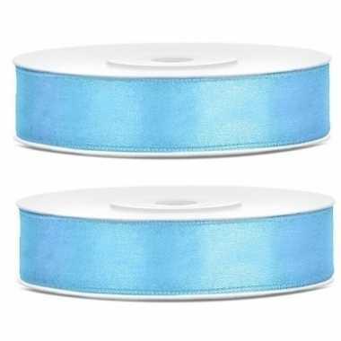 2x cadeaulint lichtblauw 12 mm