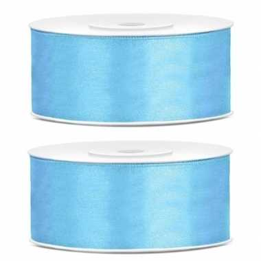2x cadeaulint lichtblauw 25 mm