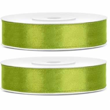 2x cadeaulint lime groen 12 mm
