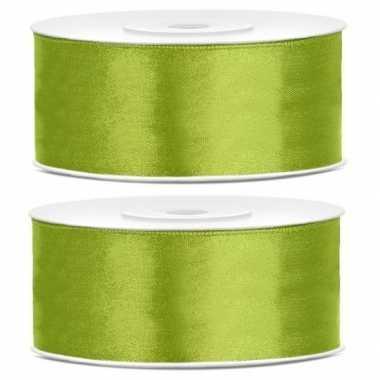 2x cadeaulint lime groen 25 mm