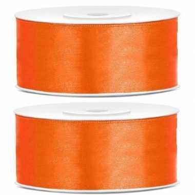 2x cadeaulint oranje 25 mm