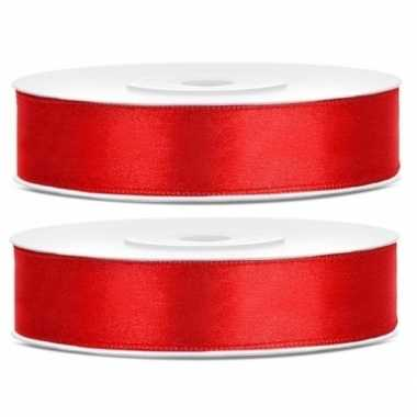 2x cadeaulint rood 12 mm