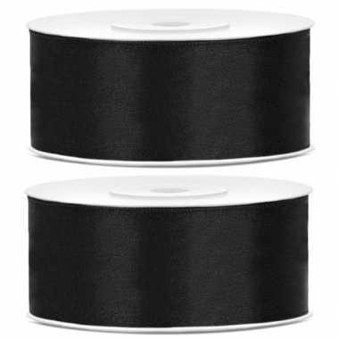 2x cadeaulint zwart 25 mm