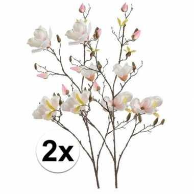 2x creme magnolia kunstbloem 105 cm
