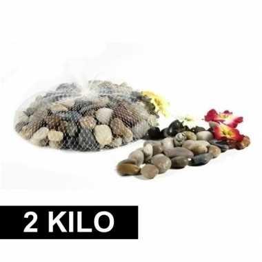 2x deco steentjes in net 1 kg