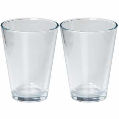2x glazen boeket vaas wijd conisch 11 x 15 cm