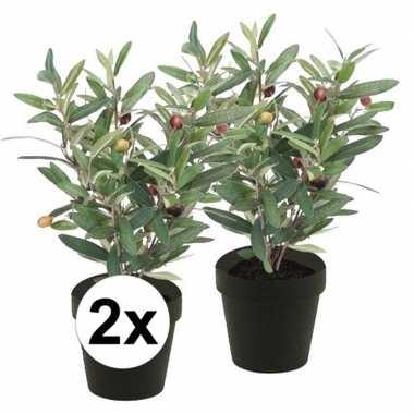 2x groen kunstplant olijf boompje plant in pot