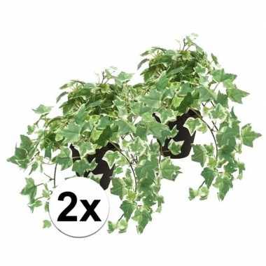 2x groen witte kunstplant klimop plant in pot