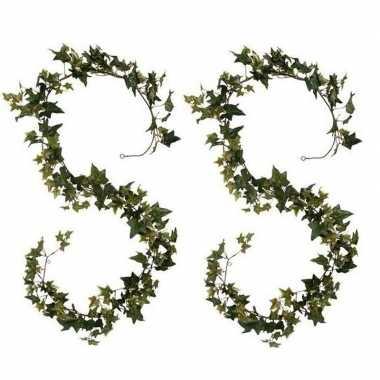 2x groene klimop hangplanten 180 cm kunstplanten slinger woonaccessoi