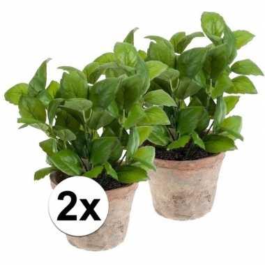 Kruiden In Pot.2x Groene Kunstplant Basilicum Kruiden Plant In Pot