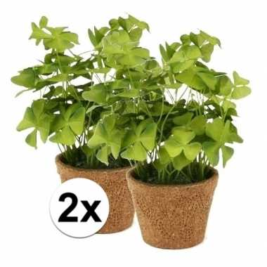 2x groene kunstplant klaverzuring plant in pot 25 cm