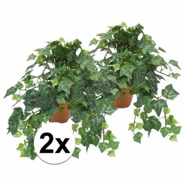 2x groene kunstplant klimop plant in pot 10110272