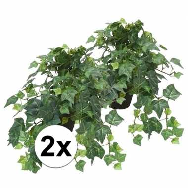 2x groene kunstplant klimop plant in pot