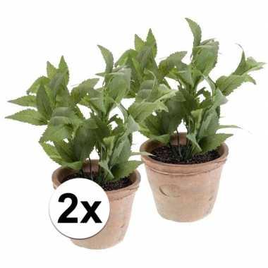 2x groene kunstplant munt kruiden plant in pot