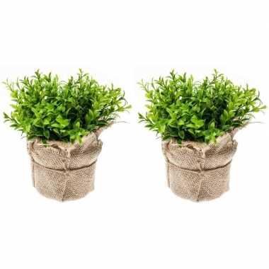 2x groene kunstplanten tuinkers kruiden plant in pot 16 cm