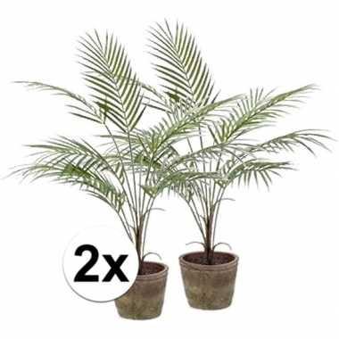 2x groene palmboom kunstplant 70 cm in pot