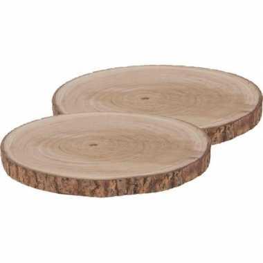 2x houten boomschijf rond 40 cm
