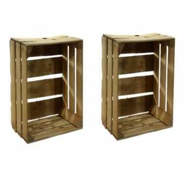 2x houten fruitkistje 30 x 50 x 40 cm
