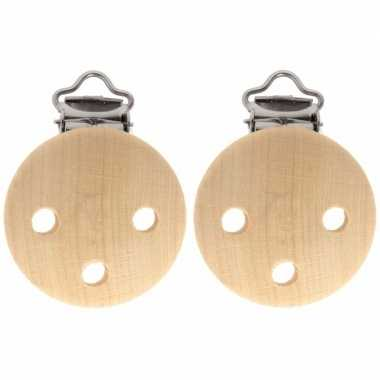 2x houten speenkoordclip naturel 3,5 cm